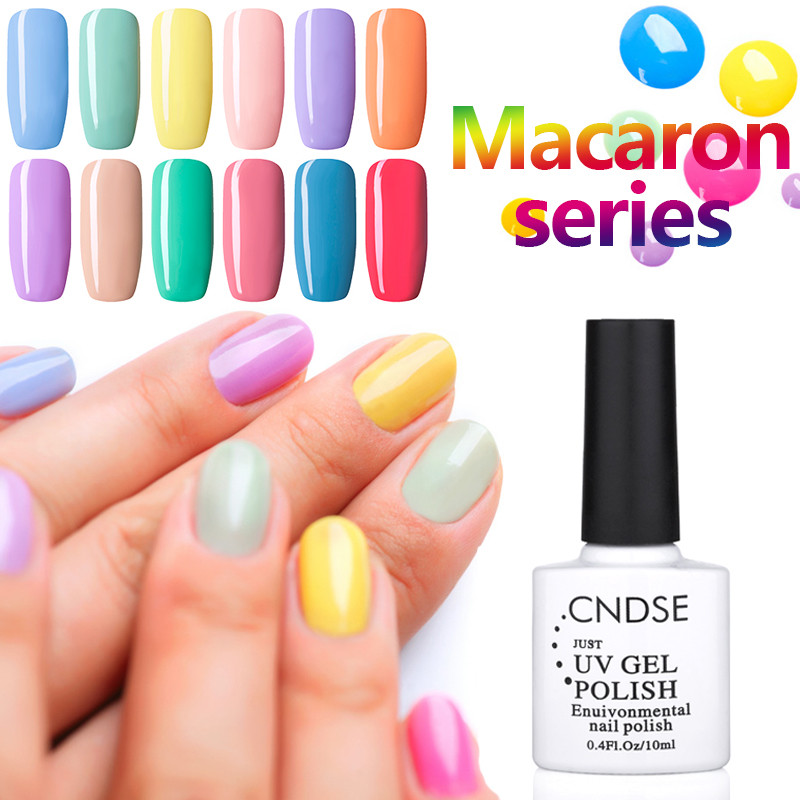 CNDSE Macaron Series 10ml Nail Polish Colorful Vernis Semi Permanent Gel Nail Polish DIY Nail Art(China (Mainland))