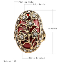 Unique Vintage Ring Oval Ruby Resin Jewelry Plating Gold Mosaic White Crystal Charm Flowers Ring For