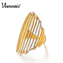 Viennois Brand Unique New 2015 Women 18k Gold Ring Size Fashion Jewelry for Party with Box Gift(China (Mainland))