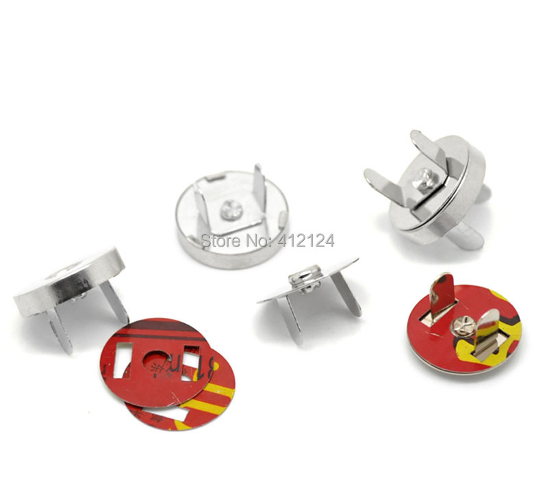 20 Sets Silver Tone Magnetic Purse Snap Clasps Closure For Purse Handbag 18mm Dia.(China (Mainland))