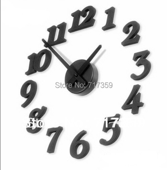 New Free Shipping 1set Fashion Charms Design Home Decor DIY Black,Wall clock,DIY clock,Interior Decoration Clock ay670108