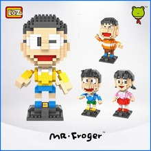 Mr.Froger LOZ Doraemon Nobita Nobi Big G Minifigures Building Blocks Small particles building block DIY toy brick gifts series