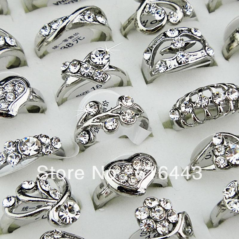 Big Promotion 50pcs Crystal Rhinestones Fashion Women Girls Silve Plated Rings Wholesale Jewelry Lots A-028(China (Mainland))