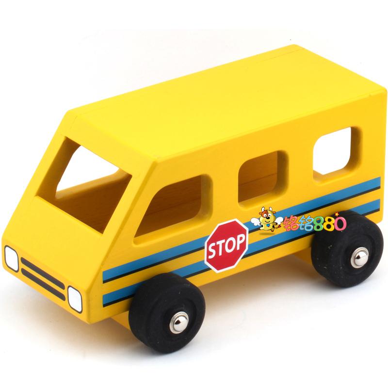 Free Shipping 2014 New Yellow school bus wooden toy car bus car model boy birthday gift(China (Mainland))