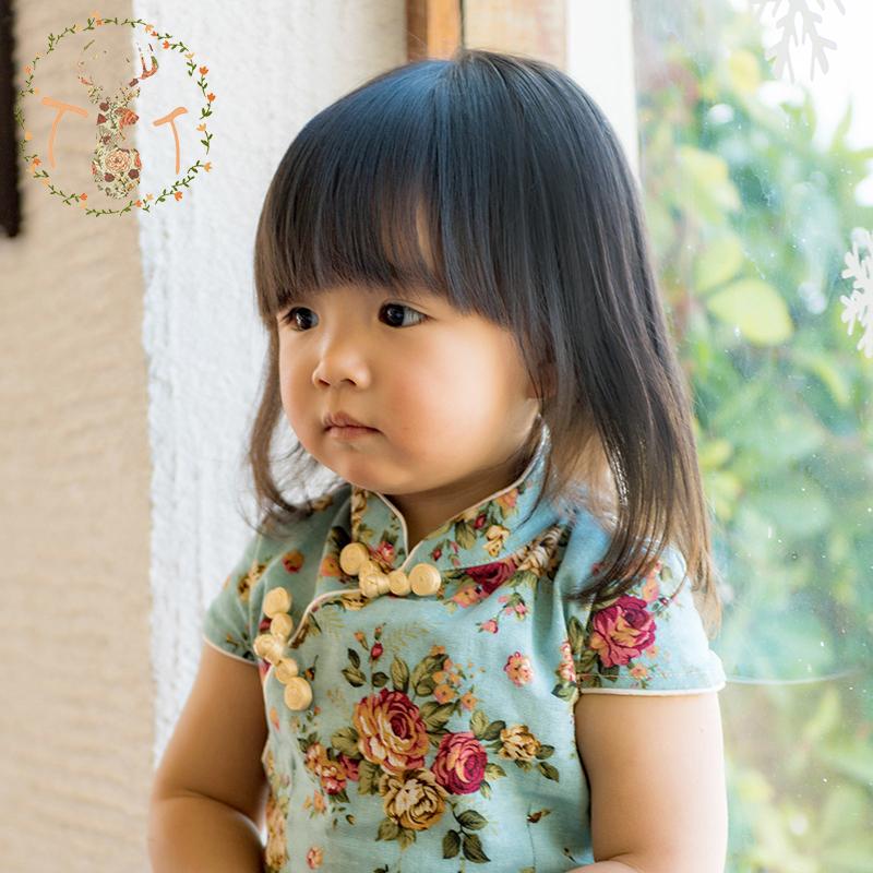 2015 Summer Style Hot Sale Chinese Classic Kids Girl Cheongsam One piece Qipao Baby Girl Cute Customes High Quality(China (Mainland))