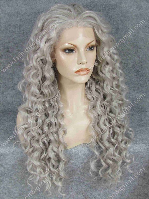 """Гаджет  Free Shipping 26"""" Extra Long #16/27HY Gray Blonde 150% Density Heat Resistant Synthetic Hair Lace Front Fashion Wig W18 None Волосы и аксессуары"""