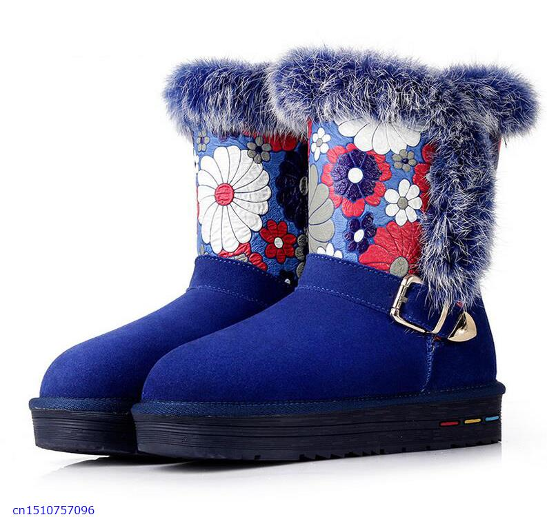 2015 Winter New Flat In The Tube Snow Boots Warm Thick Hair Slip Waterproof Heavy-Bottomed Female Cotton Boots(China (Mainland))