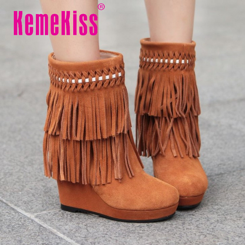 CooLcept Free shipping half ankle short natrual real genuine leather wedge boots women snow boot shoes R1228 EUR size 34-39<br><br>Aliexpress