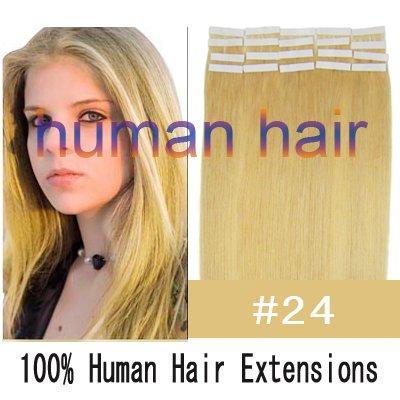 18 45cm long Tape remy Human Hair Extensions #24 medium blonde color 40gram per pack<br><br>Aliexpress