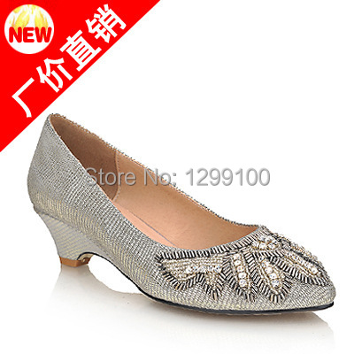 Fashion Party Dress Crystal Genuine Leather Women Casual Low Heels Pumps Pointed Toe Comfortable Pumps Lady Shoes