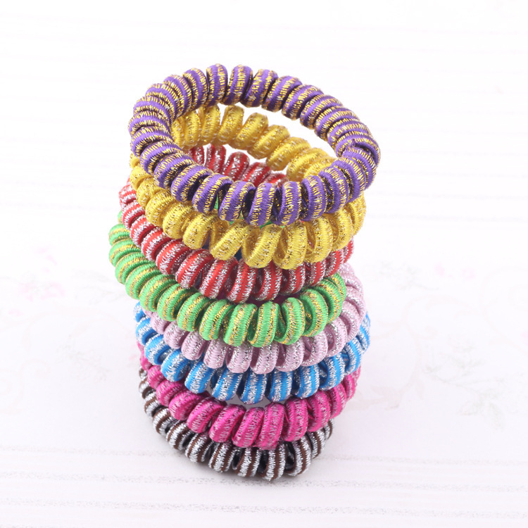 5Pcs Lot Telephone Wire Hair Band Wrapped Cotton Cloth Striped Ponytail Holder Elastic Cord Line Hair