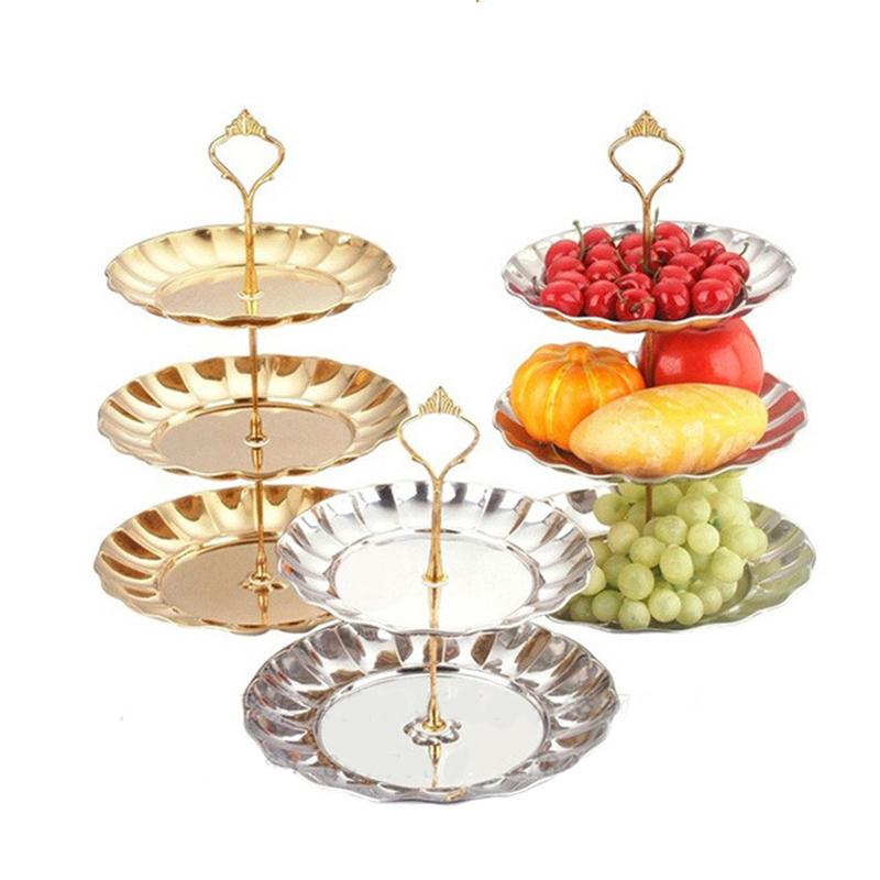 2-3 Tier Fruits Cakes Desserts Plate Stand Gold Color Stainless Steel Plates -QJ(China (Mainland))