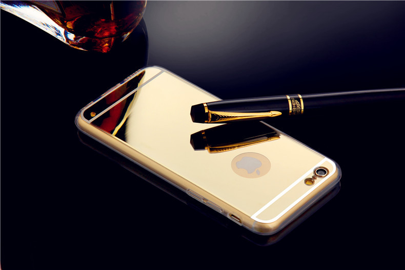 2016 New For Iphone 6 Accessories Discounted TPU Soft Gold Mirror Case for iphone 6 6S 5 5S 6Plus Phone Cases Wholesale F00091