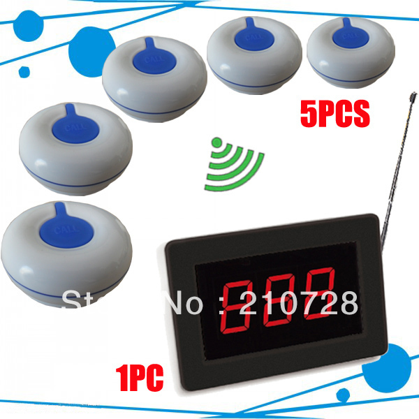 Wireless calling system of 5pcs of buttons and 1 pc of display receiver ; Waiter calling system freeshipping by EMS/DHL