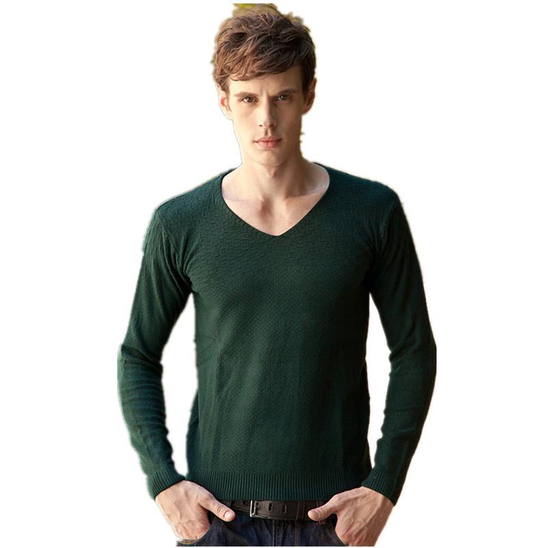 Modelli di maglieria mens maglioni 2015 moda inverno maglione da uomo slim fit marca manica lunga scollo a v uomo maglioni taglia l-2xl(China (Mainland))