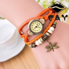 New Hot Sale Original High Quality Watch Genuine Leather Vintage Watches Bracelet Wristwatches Dragonfly Pendant Women
