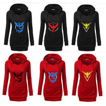 Pokemon Go Logo ash ketchum Team Valor/Instinct/Mystic Symbol Cosplay Costume Jacket Hoodie women