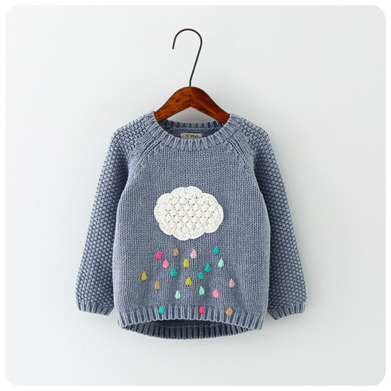 new winter cartoon baby girls sweater cloud raindrops kids clothes children sweater warm long sleeve for girls knitwear(China (Mainland))
