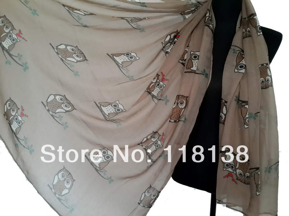 15pcs/lot Fashion Animal Owl Heart Print Scarf Shawl Wrap Voile Polyester Scarves 180cm*110cm, Free Shipping(China (Mainland))