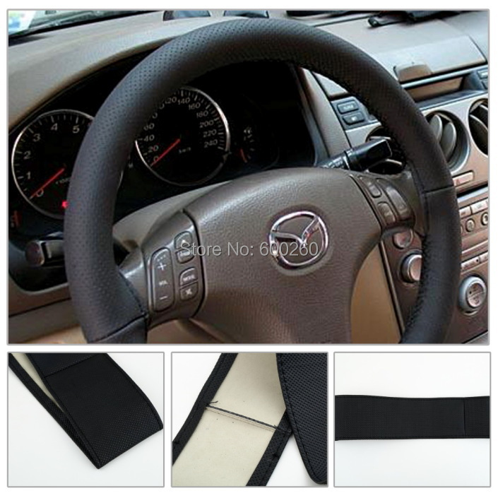 2015 New DIY Leather Car Auto Steering Wheel Cover With Needles and Thread Black hot sale Free shipping(China (Mainland))