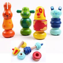 Детские Деревянные Развивающие Игрушки Симпатичные Животные Куклы Винт Гайка Соответствующие Игрушки, малыш Ребенок Подарок На День Рождения Коллекция Действие Фигура
