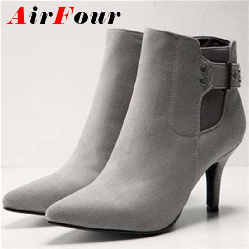 Pointed Toe Thin Heels Flock women boots big size34-43 High gray Black girl wedding shoes platform boots HOT Ankle boots<br><br>Aliexpress