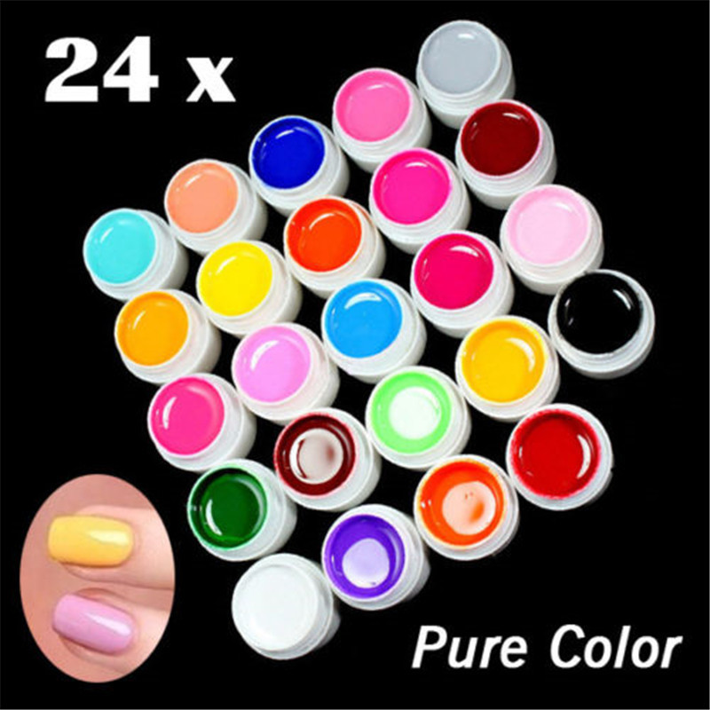 24 PCS Mix Colors Solid UV Color Builder Gel Acrylic Set for Nail Art Tips Polish Salon Extension Manicure Nails Care(China (Mainland))