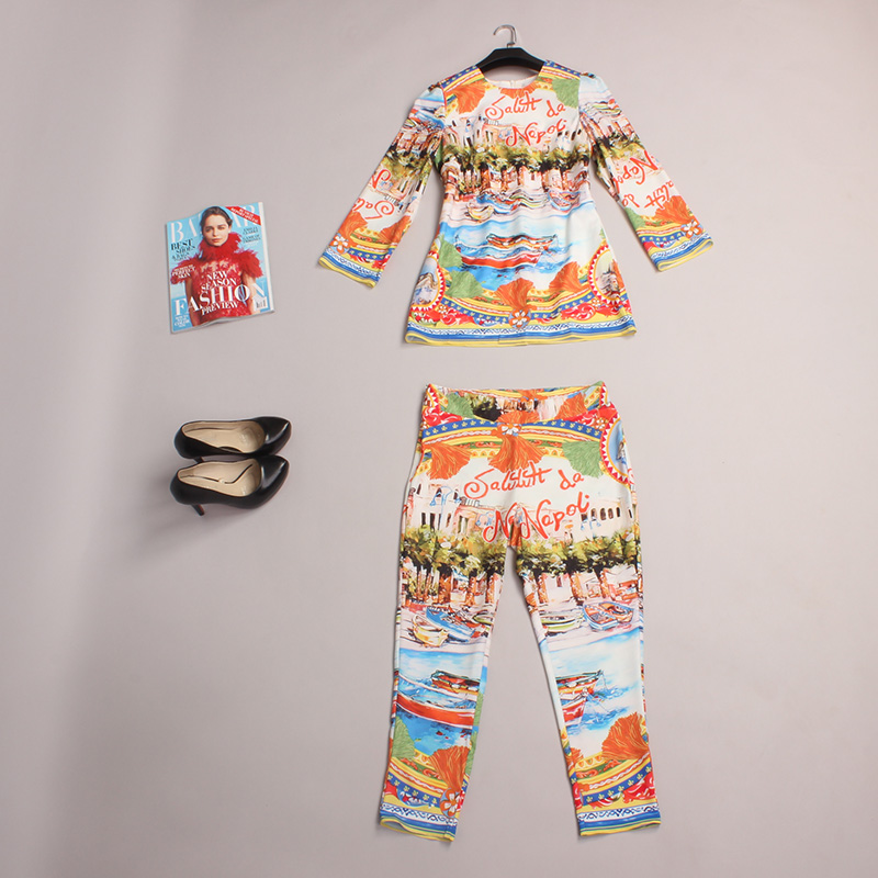 Casual Pants Set New 2016 Spring Fashion Women Three Quarter Sleeve High Quality Elastic Waist Print Scenery 2 Piece Set Women Одежда и ак�е��уары<br><br><br>Aliexpress