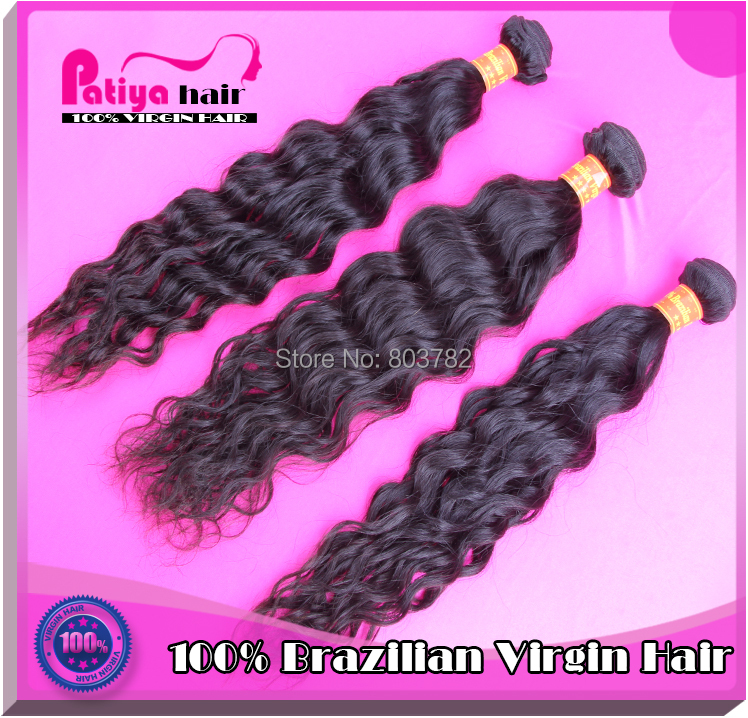 Patiya top pretty real unprocessed brazilian human doublr weft exotic natural brazilian water wave virgin hair 6A fast delivery(China (Mainland))