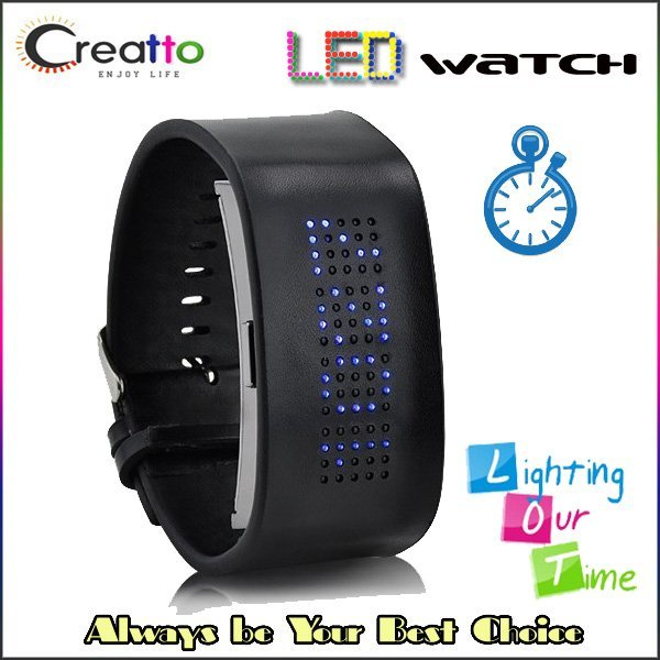 1 Piece Shipping Dot Matrix Cuff Red Blue Digital 80 LED Pilgrim Watch with Genuine Leather Belt