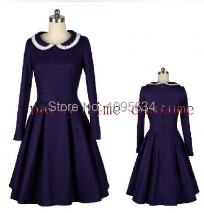 Здесь можно купить  free shipping long sleeve 1950s peter pan collar rockabilly pin up vintage  dress  Одежда и аксессуары