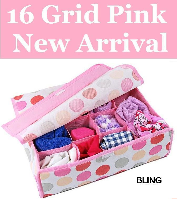 New Hot Sale Free Shipping 10pcs/lot Pink Folding 16 Grid Storage Box With Cover For Bra,Underwear,Socks 32*28*11CM(China (Mainland))