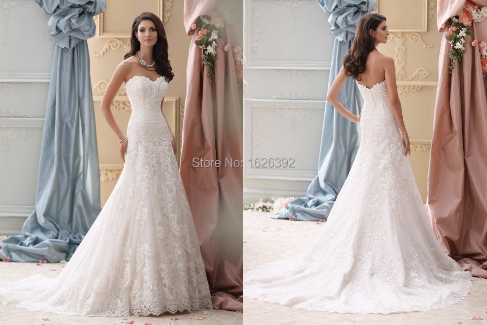 Stunning fit and flare romantic lace wedding dresses a for All lace fit and flare wedding dress