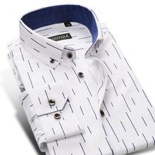 Популярные Моды Оксфорд Полосатый Мужчины Рубашка С Длинным Рукавом Высокого Qulirt Хлопок Бизнес Джентльмен Мужские Рубашки Плюс Размер 4XL(China (Mainland))