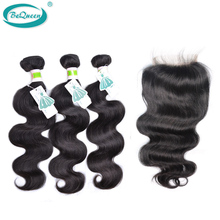 BeQueen Brazilian Hair Body Wave with Closure,3pc Hair with1pc Top Lace Closure,100% Human Hair Extension,Color 1 b# Can Be Dyed(China (Mainland))