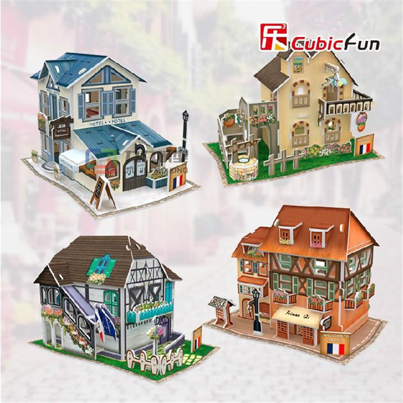 Cubic Fun 3D Puzzle Diy Paper Model Building, Puzzle 3D Model Handmade World Style France Puzzle, Birthday Gifts, Gift For Kids(China (Mainland))