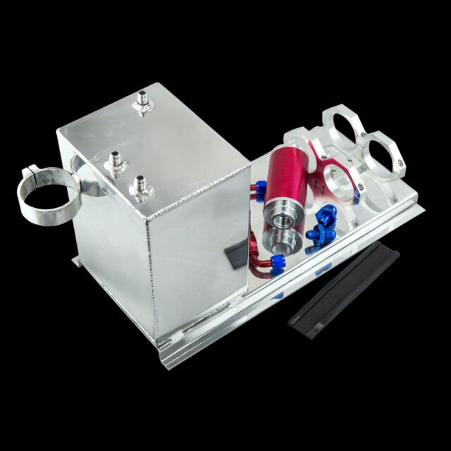 VR RACING-5L Aluminum fuel surge tank/fuel tank/fuel cell 5L polished AN fittings + pump mount + filter + hose VR-TK45