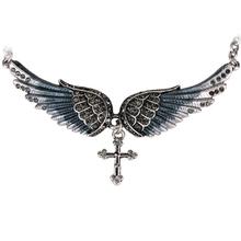 Крыло ангела крест ожерелье женщины байкер ювелирные изделия подарки Вт/кристалл регулируемые античная посеребренная NC01 оптовые dropshipping(China (Mainland))
