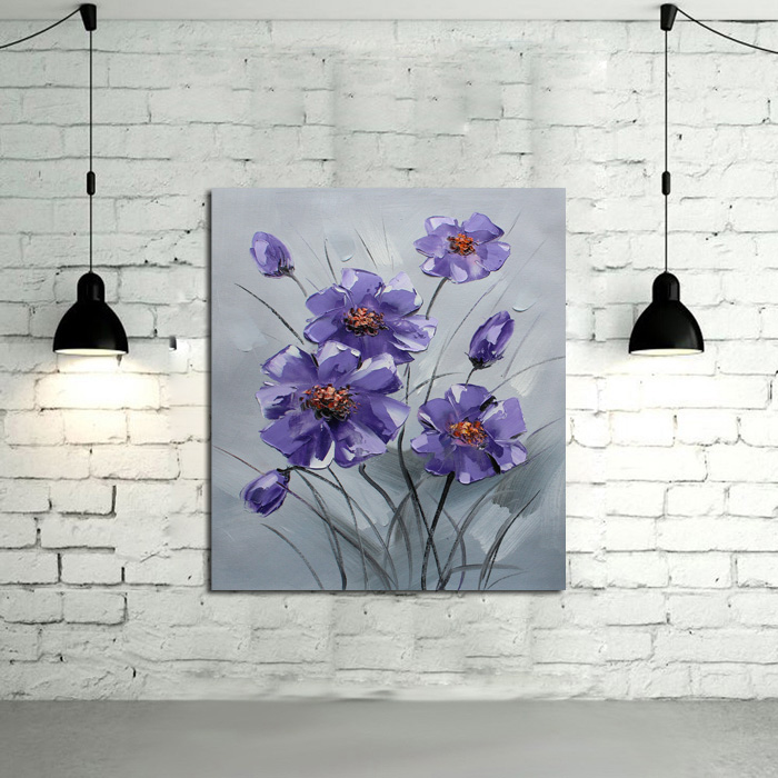 New Decorative Oil Paintings Unique Design High Quality Simple Beautiful Living Room Puple Flower Oil Painting On Canvas(China (Mainland))