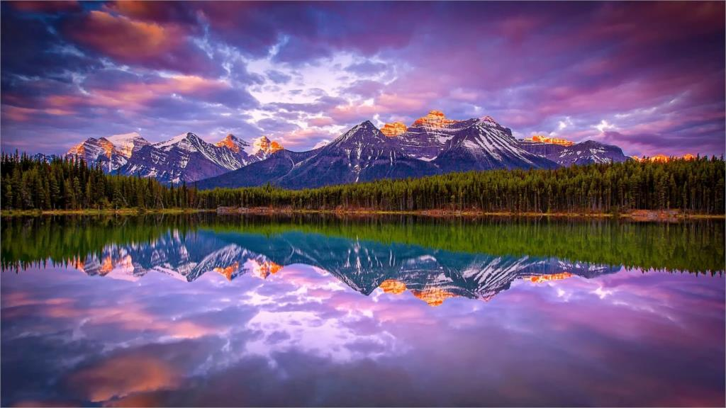 sunrise lake mountain forest beautiful nature landscape Canada snowy peak clouds reflection Home Decoration Canvas Poster(China (Mainland))
