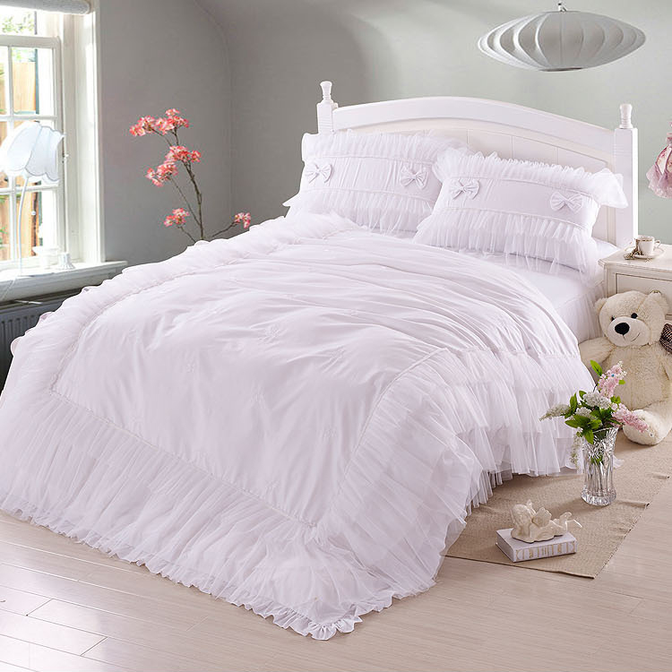 Luxury white lace falbala ruffle bedding set queen size - Drap housse king size ...