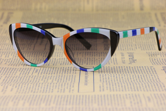 Cat Eye  Plate Frame Ms. sunglasses 4181P Colored stripes Small fresh style  Fashion wild Anti-UV 400Одежда и ак�е��уары<br><br><br>Aliexpress