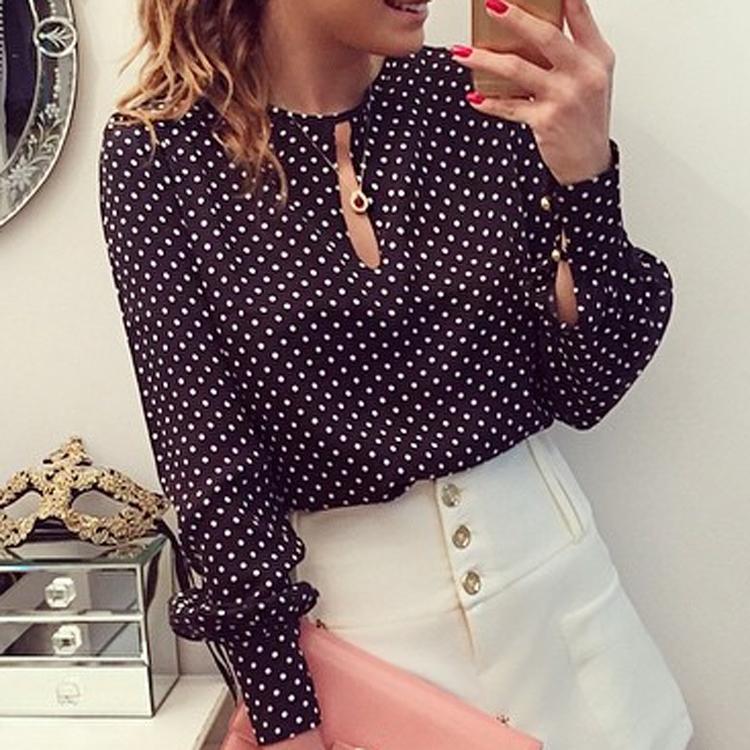 Women Chiffon Blouses Work Wear Elegant Slim All-match Long Sleeve Dot Print Shirts Office Clothing 2015 Fashion Ol Lady J9299(China (Mainland))
