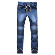 2017 new seasons high quality fashion slim straightfeet jeans elastic waist fasten belt jeasns large size S-5XL(China (Mainland))
