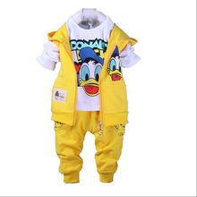 New Donald Duck Baby clothing boys and girls Set sport Suit 3Pcs vest+T-Shirt+Pants baby Summer Sets 2-5yrs baby clothing(China (Mainland))