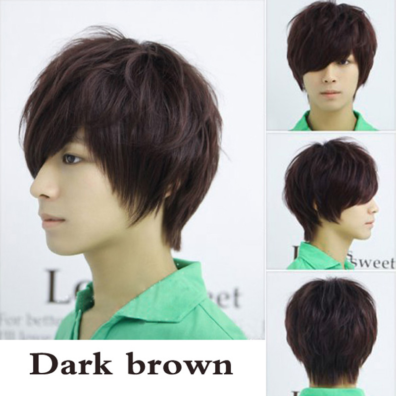 Гаджет  T2N2 Fashion Man Neutral Short Full Wig Dark Brown Straight Wig Cosplay None Волосы и аксессуары