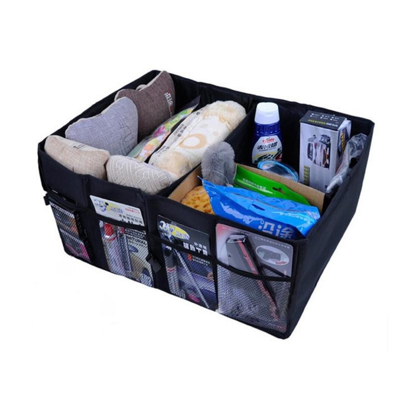 Home Car Seat Organizer Trash Bin AUTO Trunk Cargo Collapsible Storage Black Folding Zakka Boxes Sundries For Organiser Box(China (Mainland))