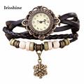 Irissshine #0098 Woman watches 9 colors  Paris Eiffel Tower Women lady girl Faux Leather Analog Quartz Wrist Watch wholesale