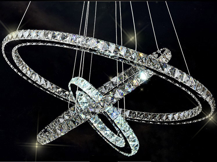 3 Ring Modern Design Silver Crystal Chandelier Lighting