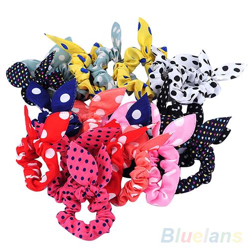 10Pcs Rabbit Ear Hair Tie Bands Accessories Japan Korean Style Ponytail Holder 4QJC(China (Mainland))